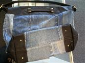 Gorgeous Denim Faux Ostrich Leather Aridza Bross Traveler Handbag Purse (France)